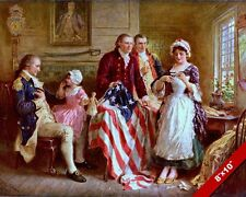 BETSY ROSS SEWING FLAG 1777 W GEORGE WASHINGTON PAINTING ART REAL CANVAS PRINT