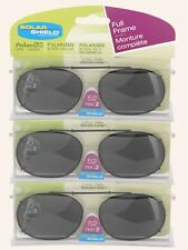 3 PACK Solar SHIELD CLIP ON Sunglasses FULL FRAME 52 REC 2 W/ CASE FREE SHIPPING