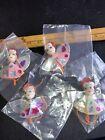 4 Vintage Christmas foil angels Ornament Tie On Spun Cotton head JAPAN MCM Pink