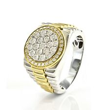 Wedding Ring 14K Two Tone Gold Over 1.50 ct Round Diamond Cluster Style Men's