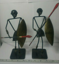 Vintage African Warrior With Spear & Shield Metal Wire Folk Art Sculpture Pair.