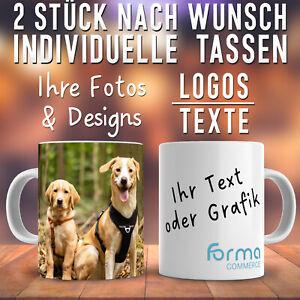2x Tasse mit Foto, Bild, Text, Logo Bedruckte Werbetasse Individuelle Fototasse