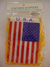 "NEW USA United States of America Flag Mini Banner 4"" x 6"" w/ Suction Car Window"