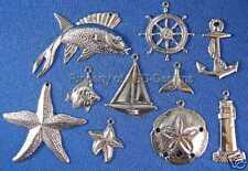 100pc Sterling Plate Nautical Ocean Sea Lot Charms 4673