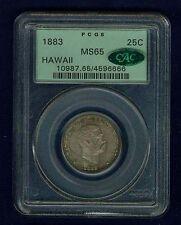 HAWAII KALAKAUA I 1883 QUARTER-DOLLAR/ 25 CENTS UNCIRCULATED CERTIFIED PCGS MS65