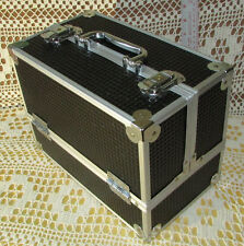 """CABOODLES CASE wWorking Handle Latches & 6 Fold-Out Sections 9""""x11""""Black&Silver"""