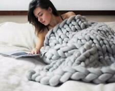 Large Soft Chunky Knitted Thick Blanket Hand Yarn Wool Throw Sofa Blanket Gift @
