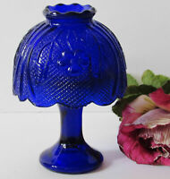 COBALT BLUE FAIRY FLORAL GLASS CANDLE HOLDER ~ With FREE Candle