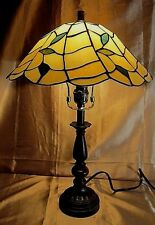 SOLID WOOD TABLE LAMP w/MARBLE ACCENT and TIFFANY STYLE STAINED GLASS SHADE