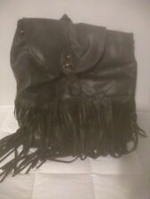 Gentle used Leather backpack purse Black With Fringe