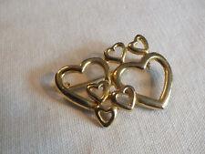 "Beautiful Brooch Pin Gold Tone 7 Hearts-2 Large 5 Small  2 x 1 1/2"" CUTE"