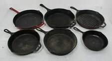 Lot Of 6 Vintage Cast Iron Skillets Cookware Lodge Emeril