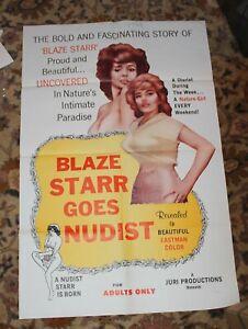 Blaze Starr Goes Nudist 1 Sheet Original Poster 1960 Sexploitation Doris Wishman