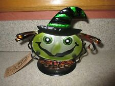 "NWT 7"" Stained Glass & Metal Tea Light Holder-Halloween Witch !!!"