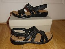 NEW in Box Clarks Women's size 6 Medium Leisa Annual Black Leather Sandals Shoes