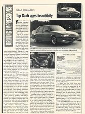 1993 SAAB 9000 Aero Original Car Review Print Article J611