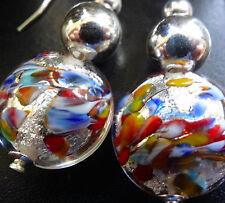 NWT STERLING SILVER Venetian Murano multi colour glass bead pierced earrings 117