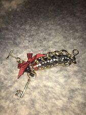 Betsey Johnson SCHOOL GIRL KEY Gold CHAIN Bracelet