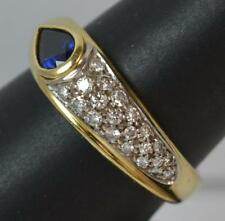 Stylish 18ct Gold Pear Cut Sapphire & Diamond Cluster Band Ring d0716