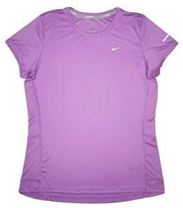 Nike Dri-Fit Running Short Sleeve Shirt 519829 Women's Size L Purple 554 NWT