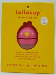 Lollaland Lollacup Sippy Cup 10 oz Pink Chick Straw Sippy Cup BPA/BPS Free
