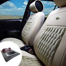Leather Seat Cushion Covers Bucket Set Diamond Pattern Solid Beige w. Dash Mat