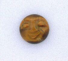 ONE 12mm Round Golden Tigereye Carved Face Gemstone Gem Stone Cab Cabochon 6365