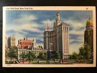 Vintage Postcard>1945>City Hall Park>New York City