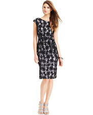 Alex Evenings NWT Lace Overlay Cap Sleeve Belted Cocktail Dress Black White 10