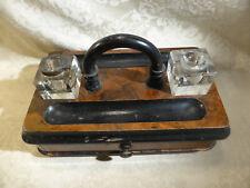 More details for antique walnut veener desk stand inkwell holder with drawer for restoration 10