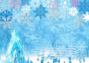 Ice Castle in Blue Snowflakes Frosty Trees 7x5ft Backdrop Vinyl Photo Background