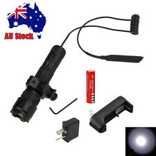 3000LM CREE T6 LED Tactical Flashlight Torch Lamp +Pressure Switch+Mount Gun AU