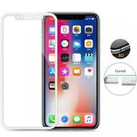 For iPHONE X XS - TEMPERED GLASS SCREEN PROTECTOR FULL COVER 5D CURVED 9H WHITE
