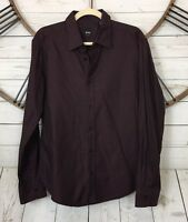 Hugo Boss Mens Size Large Slim Fit Long Sleeve Button Up Shirt Printed