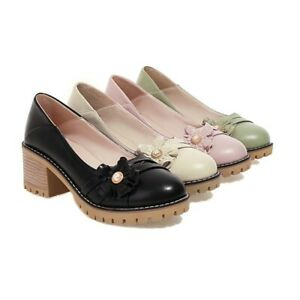 Womens Retro Pearl Flowers RoundToe Casual Palace Block Heels Leather Mule