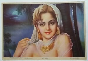 INDIAN VINTAGE INDIA LADY BEAUTIFUL PRINT - INDIAN BEAUTY /SIZE-10X14 INCH /1960