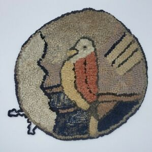 """Antique Primitive Bird Themed 12"""" Chair Pad Hand Made Hooked Rug Farmhouse Decor"""