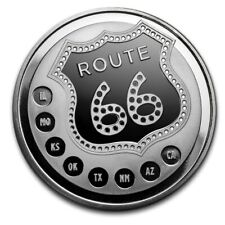 1 - OZ - 999 SILVER - GET YOUR KICKS on ROUTE 66 - PROOF-LIKE ROUND - GEM -$9.99