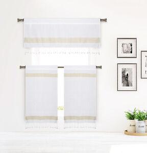 Cotton White Gold Stripe Design 3 Pc Curtain Set: Tassels Valance, 2Tiers 36L