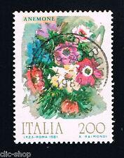 ITALIA 1 FRANCOBOLLO FIORI D'ITALIA ANEMONE 1981 usato