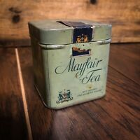 Vintage RARE Mayfair Tea Tin * The Quaker Maid Co - Empty, Rare Sage Color