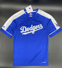 Majestic Los Angeles Dodgers Men Size Medium Lead Hitter Jersey Shirt Blue Mlb