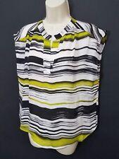 Parker Silk Black White Citron Green Striped V Neck Top Sleeveless blouse Sz M