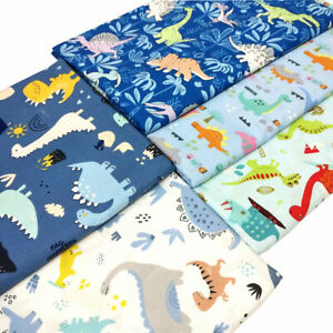 5pcs Dinosaur Print 100% Cotton Fabric Fat Quarter Bundle For Sewing DIY Crafts