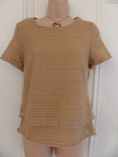 Lovely BNWOT beige (caramel) top M&S Collection UK 8 fringed, tiered, crocheted
