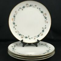 "Set of 4 VTG Dinner Plates 10 1/2"" Noritake Elmdale Blue Gold Leaves 6219 Japan"
