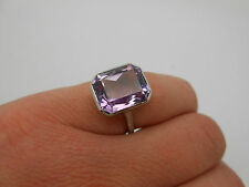 Gorgeous Antique Vintage Large Purple Amethyst 14K White Gold Ring Size 6