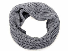 Womens Mens Winter Warm Infinity 1 Circle Cable Knit Cowl Neck Scarf Shawl grey