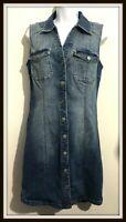 INC International Concept Women's Size 8  Denim Shirt Dress Open Back Sleeveless