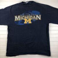Starter 90s vtg MICHIGAN WOLVERINES university T SHIRT blue LARGE Football Shirt